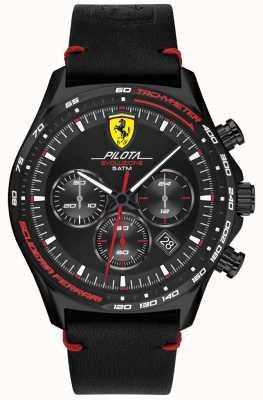 Scuderia Ferrari | pilota evo pour hommes | bracelet en cuir noir | cadran noir 0830712