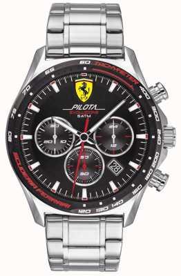 Scuderia Ferrari | pilota evo pour hommes | bracelet en acier inoxydable | cadran noir | 0830714
