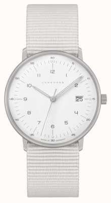 Junghans Max bill damen   bracelet en nylon blanc   cadran blanc 047/4050.04