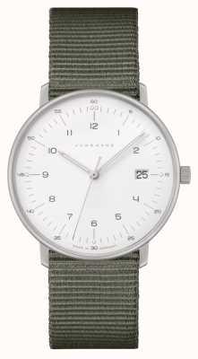 Junghans Max bill damen   bracelet en nylon gris   cadran blanc 047/4051.04
