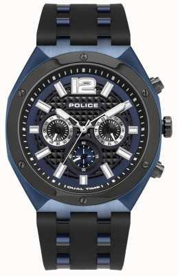Police Kediri | bracelet en caoutchouc noir | cadran bleu 15995JSBLU/03P
