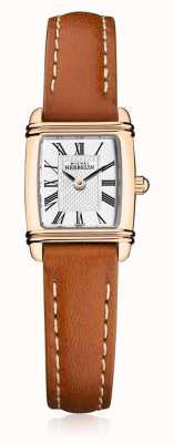 Michel Herbelin | bracelet en cuir marron pour femme | cadran rectangle en argent | 17438/PR08GO