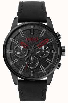 HUGO | #seek | bracelet en cuir noir | cadran noir | 1530149