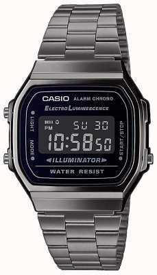 Casio | vintage | bracelet en acier inoxydable argent | cadran noir | A168WEGG-1BEF