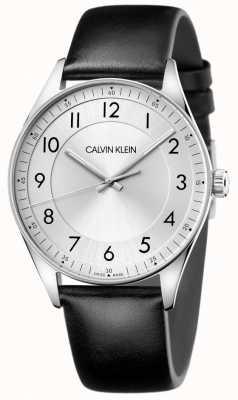 Calvin Klein | lumineux | bracelet en cuir noir | cadran argenté KBH211C6