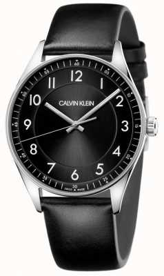 Calvin Klein | lumineux | bracelet en cuir noir | cadran noir | KBH211C1