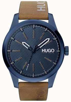 HUGO #invent | cadran bleu | bracelet en cuir marron 1530145