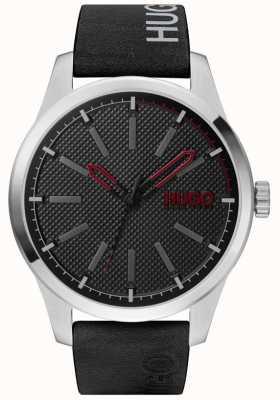 HUGO #invent | cadran noir | bracelet en cuir noir 1530146