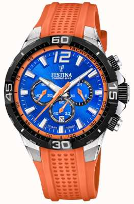 Festina Chrono bike 2020 cadran bleu bracelet orange F20523/6