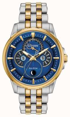 Citizen Hommes | eco-drive | moonphase | montre à cadran bleu BU0054-52L