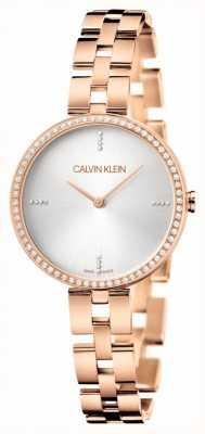 Calvin Klein Élégance | bracelet en acier inoxydable or rose | cadran argenté KBF23X4W