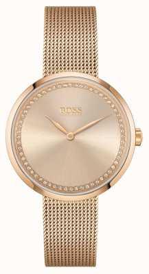 BOSS | éloge des femmes | bracelet en maille d'acier or rose | cadran rose 1502548