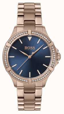 BOSS | mini sport féminin | bracelet en or rose | cadran bleu 1502468