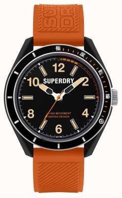 Superdry Plongée à Osaka | bracelet en silicone orange | cadran noir SYG304O