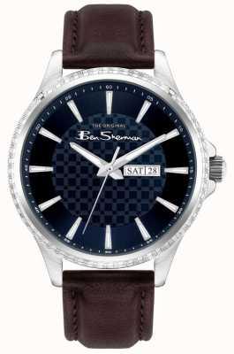 Ben Sherman | bracelet en cuir marron pour homme | cadran bleu BS029BR