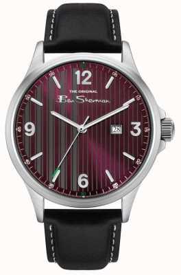 Ben Sherman   bracelet en cuir noir pour homme   cadran à fines rayures rouges BS030RB
