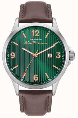 Ben Sherman   bracelet en cuir marron pour homme   cadran vert à fines rayures BS030NBR