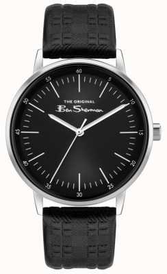 Ben Sherman   bracelet en cuir à carreaux noir pour hommes   cadran noir BS031BB