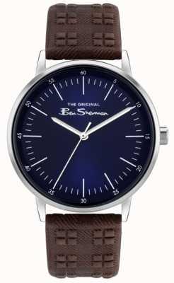 Ben Sherman   bracelet en cuir à carreaux marron pour homme   cadran bleu BS031BR