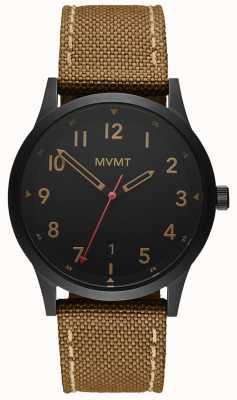 MVMT | champ | bracelet en toile marron | cadran noir 28000017-D