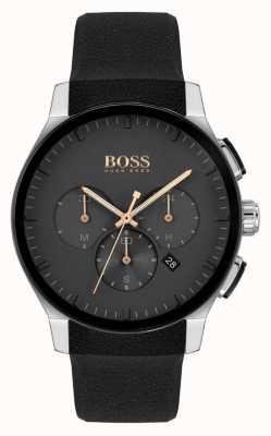 BOSS | pic des hommes | bracelet en silicone noir | cadran noir 1513759