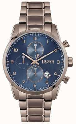 BOSS | skymaster homme | bracelet plaqué ion marron | cadran bleu 1513788