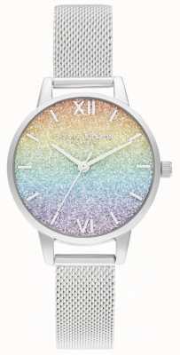 Olivia Burton Bracelet maille argent femme | cadran à paillettes multicolores OB16GD69