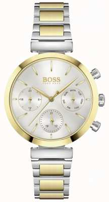 BOSS Impeccable | bracelet en acier bicolore pour femme | cadran argenté 1502550