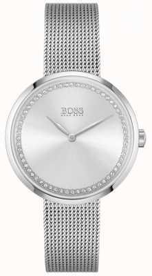 BOSS Louange | bracelet femme en maille d'acier | cadran en cristal argenté 1502546