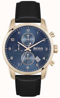 BOSS Skymaster | bracelet en cuir noir pour homme | cadran bleu 1513783