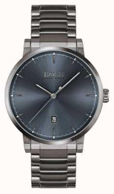 BOSS La confiance | bracelet plaqué ion gris | cadran bleu 1513793