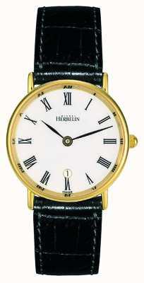 Michel Herbelin Bracelet en cuir noir pour femme | cadran blanc | boîtier en or 16845/P01