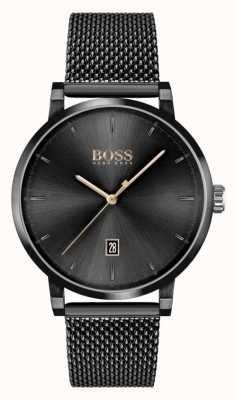 BOSS | la confiance des hommes | bracelet en maille noire | cadran noir 1513810