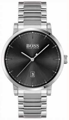 BOSS | la confiance des hommes | bracelet en acier inoxydable | cadran noir 1513792