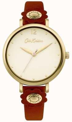 Cath Kidston | bracelet en cuir beige pour femme | cadran argenté CKL101TG