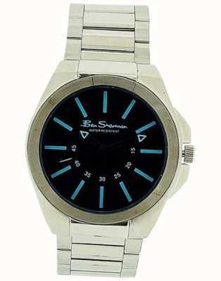 Ben Sherman | bracelet en cuir noir pour homme | cadran rectangle noir BS040B