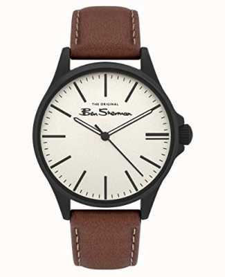 Ben Sherman | bracelet en cuir beige pour homme | cadran beige BS033T