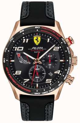 Scuderia Ferrari | pilota pour hommes | bracelet en cuir / silicone noir | cadran noir 0830719