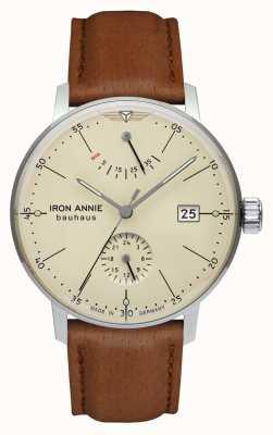 Iron Annie Bauhaus | automatique | bracelet en cuir marron clair | cadran beige 5060-5