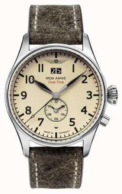 Iron Annie Quartz de contrôle de vol | bracelet en cuir marron | cadran beige 5140-5