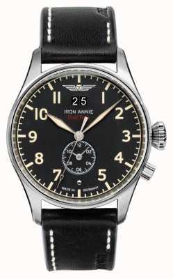 Iron Annie Quartz de contrôle de vol | bracelet en cuir noir | cadran noir 5140-2