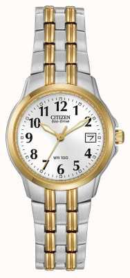 Citizen Mesdames boîtier plaqué deux tons et bracelet Eco-Drive EW1544-53A