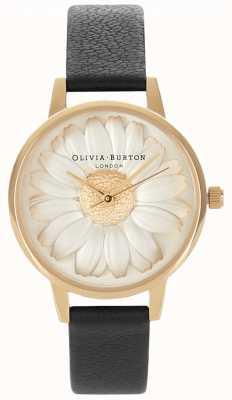 Olivia Burton Marguerite 3d | bracelet en cuir noir pour femme | cadran marguerite OB15EG38
