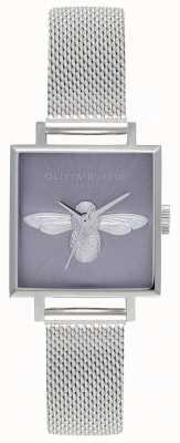 Olivia Burton Abeille 3d | bracelet maille argent femme | cadran abeille argent OB16AM136