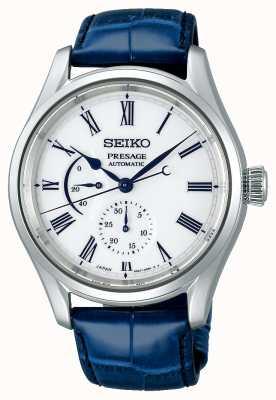 Seiko Cadran en porcelaine édition limitée Presage   bracelet en cuir bleu SPB171J1