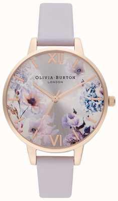 Olivia Burton Fleurs du soleil | bracelet en cuir lilas pour femmes | cadran fleuri OB16EG140