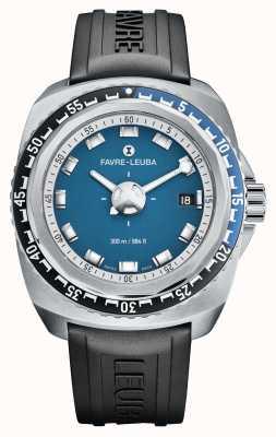 Favre Leuba Raider bleu profond 41 | bracelet en caoutchouc noir | cadran bleu | 00.10106.08.52.31