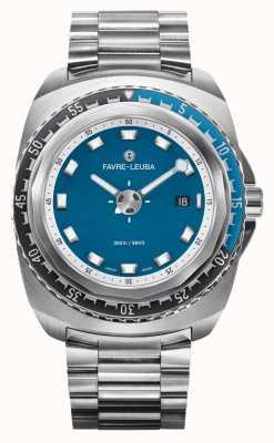 Favre Leuba Raider bleu profond 44 | bracelet en acier inoxydable | cadran bleu | 00.10102.08.52.20