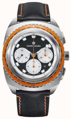 Favre Leuba Ciel de mer Raider | bracelet en cuir noir | cadran noir / blanc | 00.10103.08.13.41