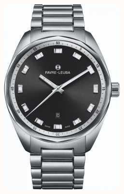 Favre Leuba Date du chef du ciel   bracelet en acier inoxydable   cadran noir 00.10201.08.11.20
